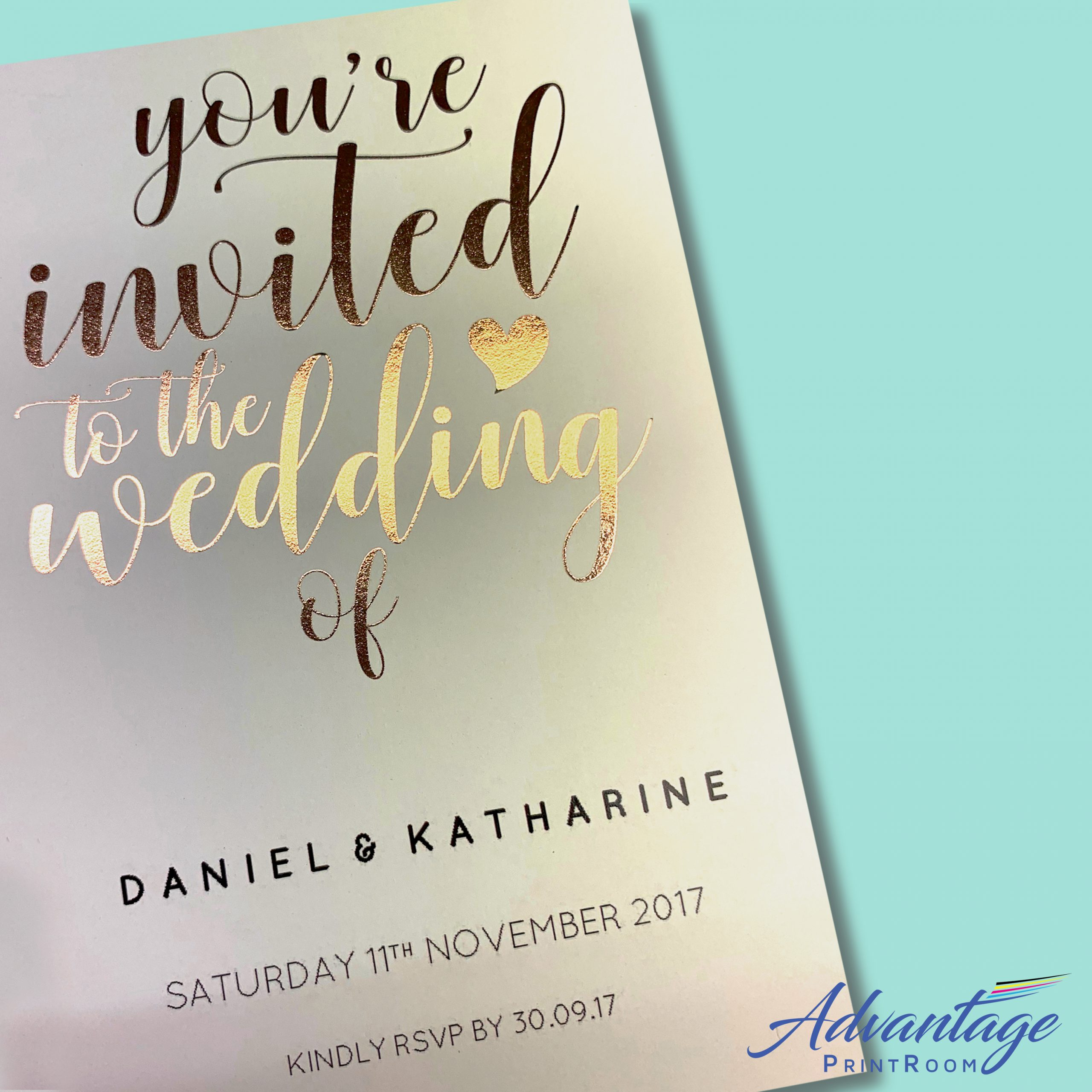 foil wedding invite