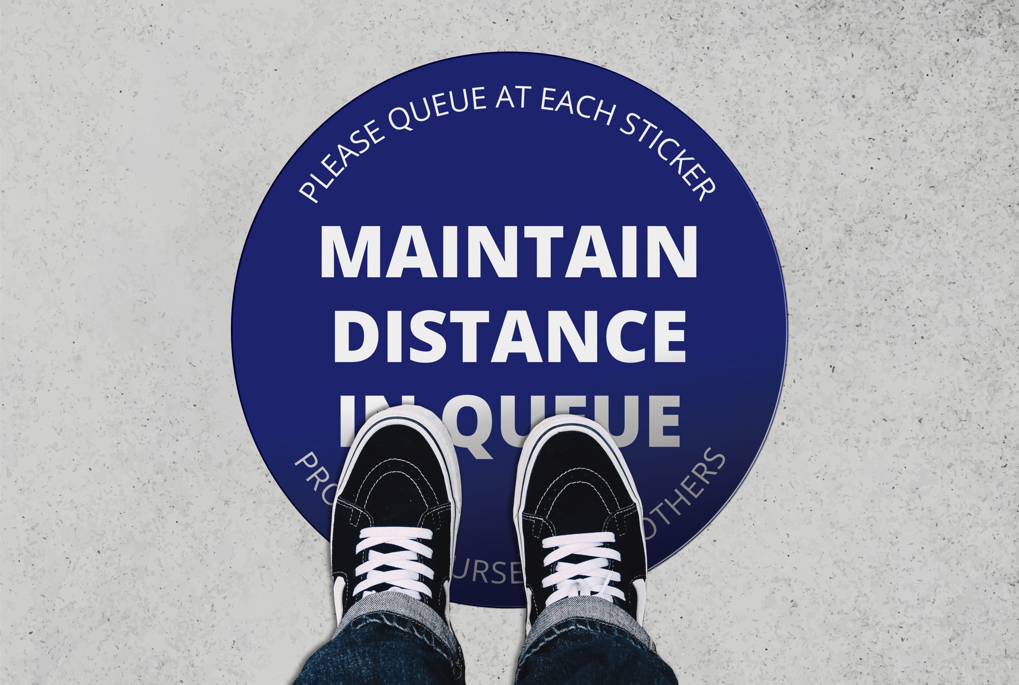 social distance floor sticker circle