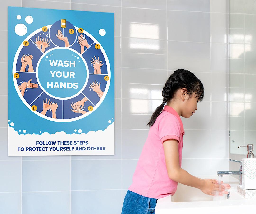 hand washing sign school