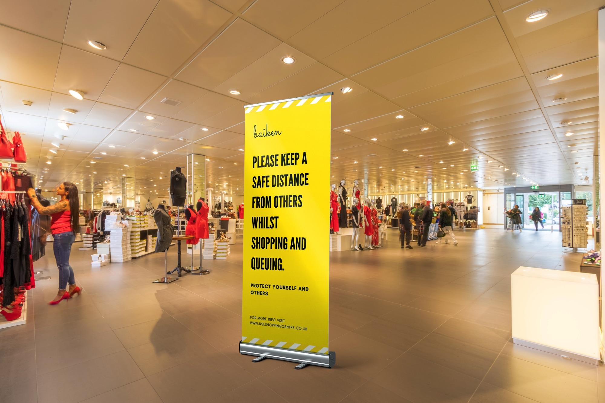 Social Distance roller banner retail